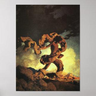 Cadmus que siembra los dientes del dragón, póster