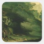 Cadmus y el dragón pegatina cuadrada
