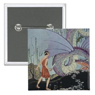 Cadmus y el dragón pin cuadrado