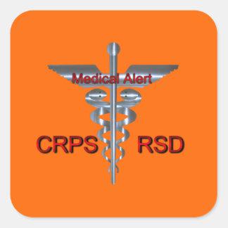 Caduceo alerta médico de CRPS RSD Silvear Pegatina Cuadrada