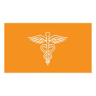 Caduceo anaranjado minimalista moderno del médico tarjetas de visita
