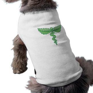 Caduceo con las hojas playera sin mangas para perro