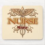 Caduceo de cobre de lujo de la enfermera tapete de ratón