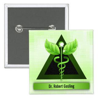 Caduceo de encargo del verde de la medicina pin cuadrado