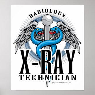Caduceo de la tecnología de la radiografía póster
