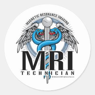 Caduceo de la tecnología de MRI Pegatina Redonda