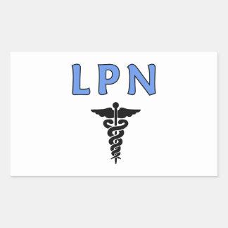 Caduceo de las enfermeras LPN Pegatina Rectangular