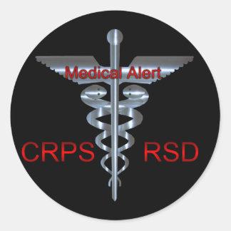 Caduceo de plata alerta médico de CRPS RSD Pegatina Redonda