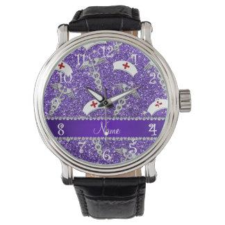 Caduceo de plata del brillo de los gorras púrpuras relojes de pulsera