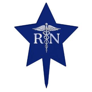 Caduceo de plata del RN de la enfermera Figura De Tarta