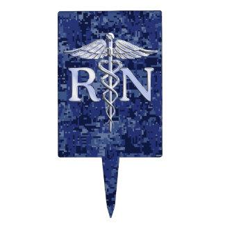 Caduceo de plata del RN de la enfermera Figura Para Tarta