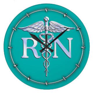 Caduceo de plata del RN de la enfermera Reloj Redondo Grande