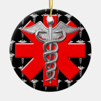 Caduceo de plata y cruz médica ornamento para reyes magos