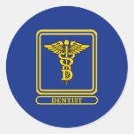 Caduceo del dentista etiqueta redonda