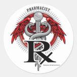 Caduceo del farmacéutico pegatinas redondas