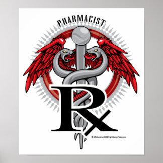 Caduceo del farmacéutico póster