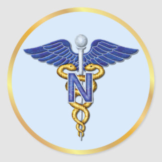 Caduceo del oficio de enfermera pegatina redonda