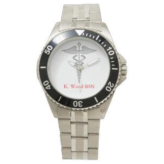 Caduceo del oficio de enfermera personalizado relojes de mano