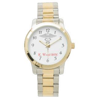 Caduceo del oficio de enfermera personalizado relojes de pulsera