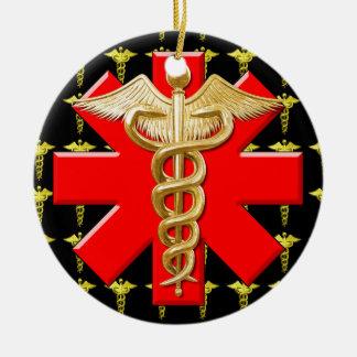 Caduceo del oro y cruz médica ornamento para arbol de navidad