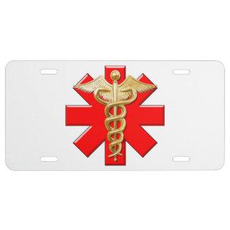 Caduceo del oro y cruz médica placa de matrícula