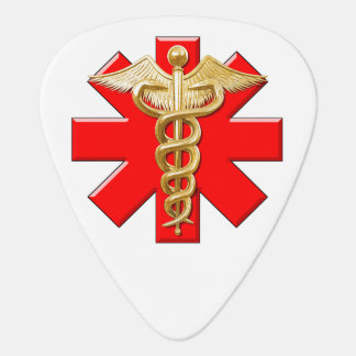 Caduceo del oro y cruz médica púa de guitarra