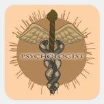 Caduceo del psicólogo calcomanías cuadradas