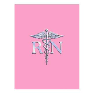Caduceo del RN de la enfermera registradoa en rosa Tarjetas Postales