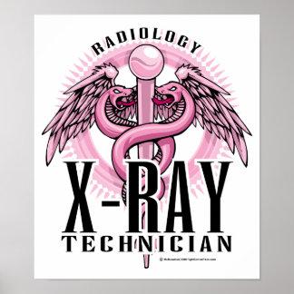 Caduceo del rosa de la tecnología de la radiografí póster