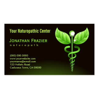 Caduceo del verde del Naturopath de la medicina Tarjetas De Visita