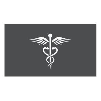 Caduceo gris elegante moderno del médico tarjetas de visita