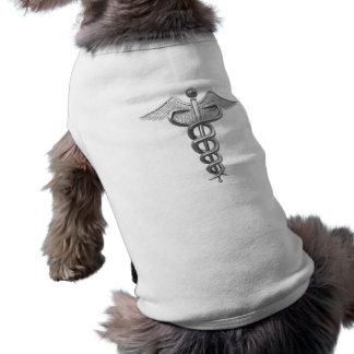 Caduceo médico de plata playera sin mangas para perro
