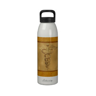 Caduceo médico del oro botellas de agua reutilizables