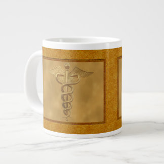 Caduceo médico del oro tazas jumbo
