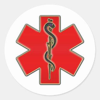 Caduceo médico etiquetas redondas