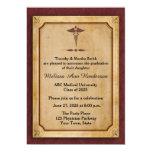 Caduceo, pergamino, Annoucement graduado médico Invitación 12,7 X 17,8 Cm