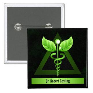 Caduceo personalizado del verde de la medicina pin cuadrado
