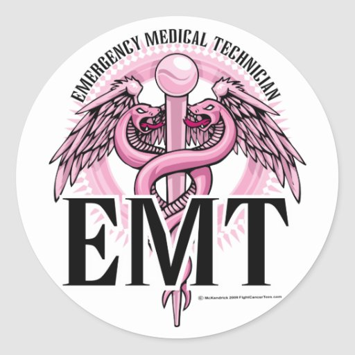 Caduceo rosado de EMT Pegatina Redonda