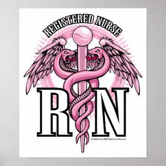 Caduceo rosado del RN Póster