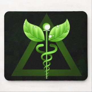 Caduceo verde oscuro Mousemat de la medicina Alfombrilla De Ratón