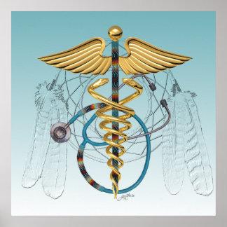 Caduceo y estetoscopio del nativo americano poster