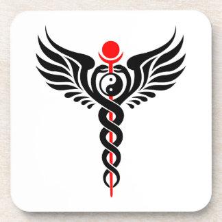 Caduceo - Yin Yang - serpiente coa alas - Posavasos De Bebida