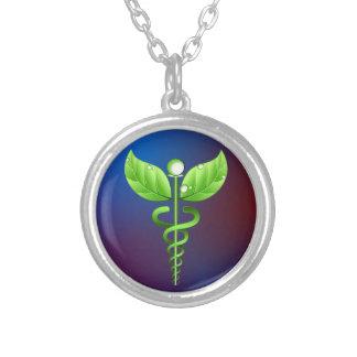 Caduceus Alternative Medicine Round Necklace