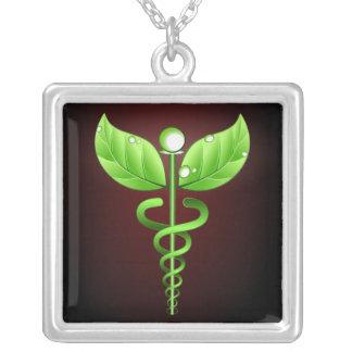 Caduceus Alternative Medicine Square Necklace Necklaces