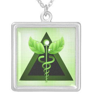 Caduceus Alternative Medicine Square Necklace Pendants