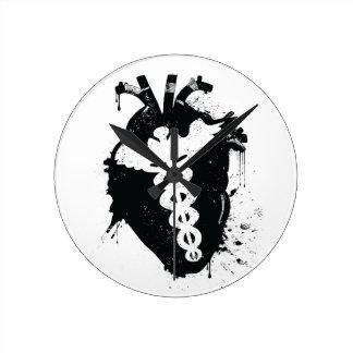 caduceus anatomical heart round clock