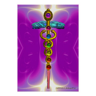 CADUCEUS AND 7 CHAKRAS , vibrant gold amethyst Poster