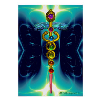 CADUCEUS AND 7 CHAKRAS , vibrant gold ametist Poster