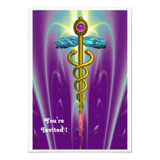 CADUCEUS , blue ,pink violet purple amethyst Card