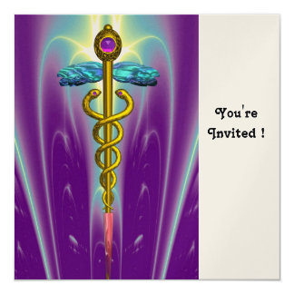 CADUCEUS blue pink violet purple amethyst gold Card